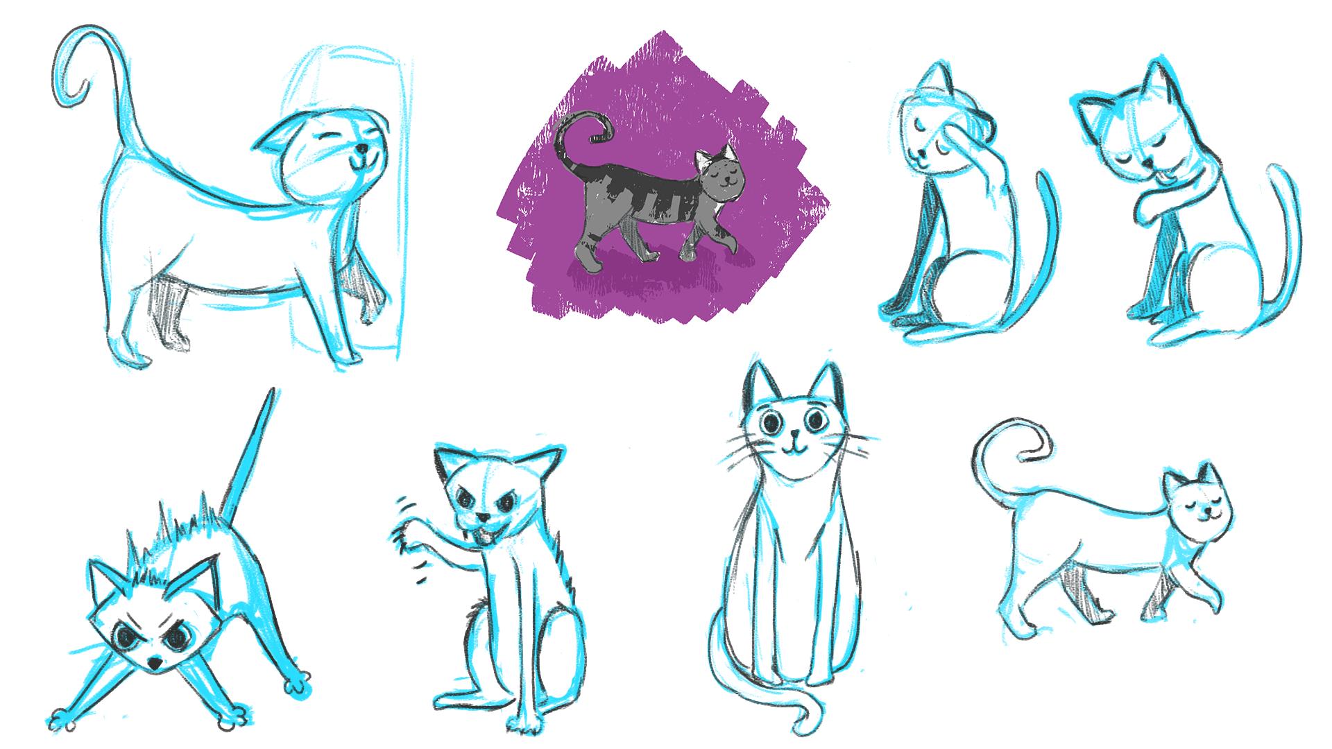 Feliway Cat Charcter Sketches